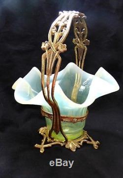 ° Uranium Victorian Vaseline Glass Art Nouveau Bronze Candy Basket IRIS Flowers