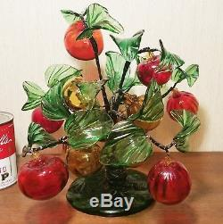VENETIAN fruit tree antqiue victorian vtg murano table art glass leaves statue