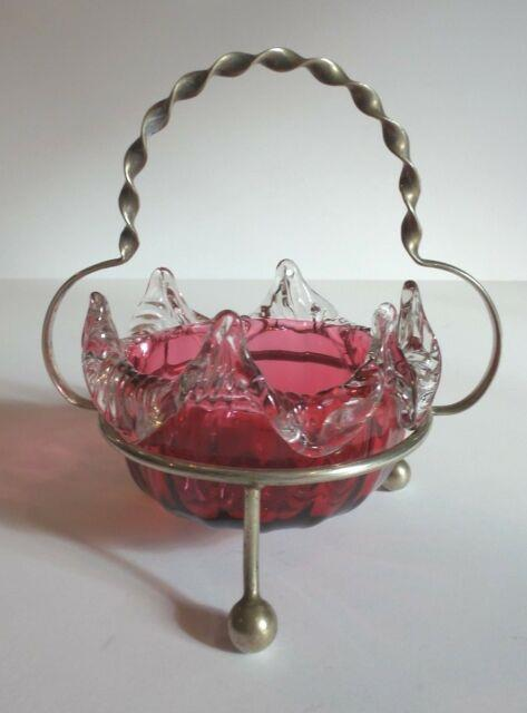 Victorian Cranberry Art Glass Candy Dish, Silver Plate Stand, C. 1880's