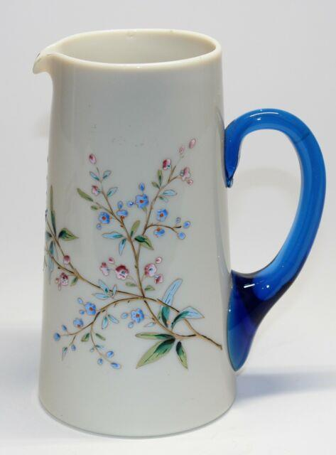 Victorian Opaque Glass Heavy Enamel Decorated Pitcher Withblue Handle