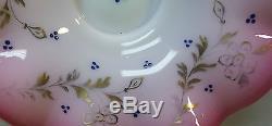 VICTORIAN PERIOD ART GLASS BRIDE'S BASKET in ORNATE WILCOX SILVER PLATE STAND