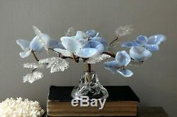 Venetian Glass Flower Bouquet on Crystal Glass Stand Art Glass Italian Murano