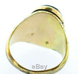 Victorian 14k Yellow Gold Carved Black Brown Art Glass Cameo Poison Ring