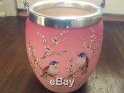 Victorian/1880s Webb/Mt. Washington Art Glass PeachBlow Biscuit Jar Marked B25