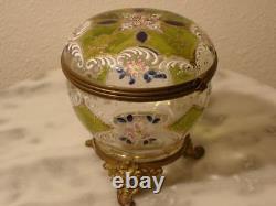 Victorian Antique Art Glass Covered Candy Box Dresser Box Sweet Box