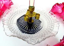 Victorian Antique Art Glass Cranberry Crimped Rigaree Trial 4 Horn Epergne 1875