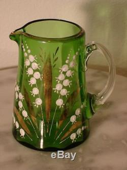 Victorian Antique Art Glass Emerald Green Creamer Gilded Enamel Florals