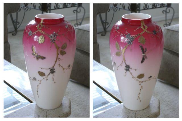 Victorian Antique Art Glass Harrach Peachblow Vases With Enamel Decoration