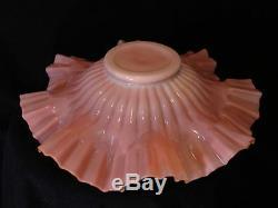 Victorian Antique Art Glass New Martinsville Iridized Pink Muranese Bowl