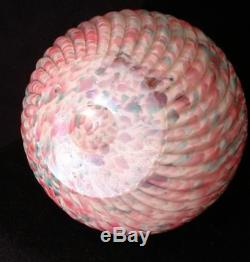Victorian Antique Art Glass Webb Swirl Rib Optic Polychrome Ball Pitcher
