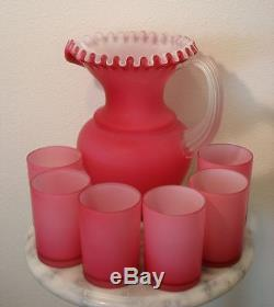 Victorian Antique Beaumont Art Glass Pink Satin White Lined Water Set