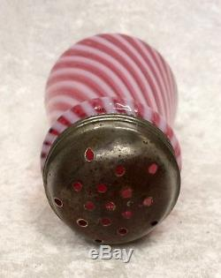 Victorian Antique CRANBERRY OPALESCENT ART GLASS SUGAR SHAKER