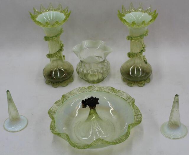 Victorian Antique Vaseline Six Piece Set Art Glass Epergne Centrepiece & Vases
