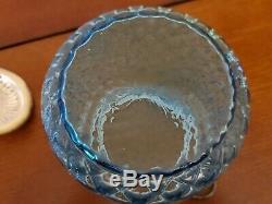 Victorian Art Blue Diamond Optic Pattern Glass Biscuit Jar