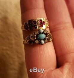 Victorian Art Deco Ring Glass Paste Brass Pearl Lot 2 Rings