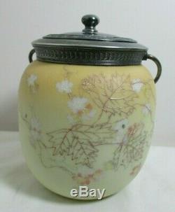 Victorian Art Glass Cracker Jar Peach Yellow Gilt Enamel Leaves Mt Washington
