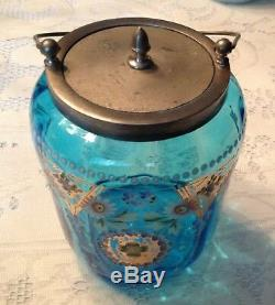 Victorian Art Glass Enameled Biscuit Cracker Jar