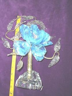 Victorian Art Glass Flower On Base Centerpiece, Large 3-d Blossom
