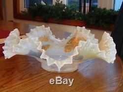 Victorian Art Glass Opal Iridescent Crimped Brides Basket