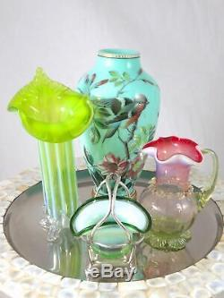 Victorian Art Glass STEVENS WILLIAMS Vaseline Opalescent Cranberry JUG PITCHER