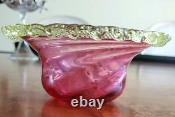 Victorian Art GlassCranberryVaselineUranium Stevens & Williams BowlSwirl