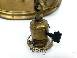 Victorian Art Nouveau Art Glass Shades Brass Hanging Light Fixture