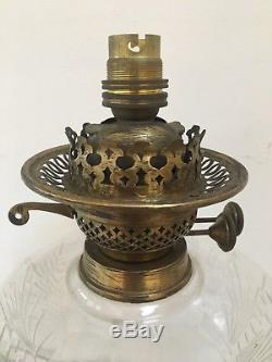 Victorian Art Nouveau Etched Glass Shade Kerosene Paraffin Oil Duplex Lamp Light