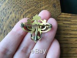 Victorian Art Nouveau Green Gold Filled Watch Pin Brooch Glass Garnet Antique