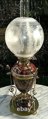 Victorian Art Nouveau Royal Doulton Oil LampAcid Etched ShadeHinks No2 Duplex