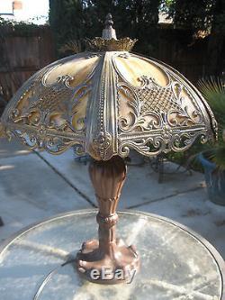 Victorian Art Nouveau VTG Antique Convex Caramel Slag Glass Lamp SHIPS FREE