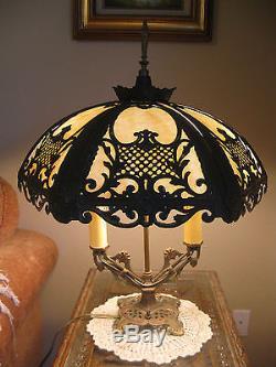 Victorian Art Nouveau Vintage Antique 6 Convex White/Beige Slag Glass Shade Lamp