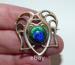 Victorian Arts & Crafts Peacock Foil Glass Brooch Jugendstil Pierced Design Pin