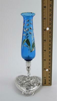 Victorian BUD VASE Repousse HEART base BLUE art glass MERIDEN B Quadruple Silver
