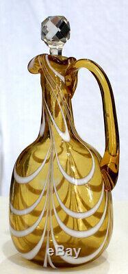 Victorian Blown Glass Cruet with Opalescent Drape circa 1900
