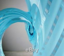 Victorian Blue Opalescent Glass Tall Swirl Pitcher + 4 Tumblers