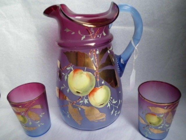 Victorian Bluerina Pitcher 9 1/4 Tall W. 2 Tumblers Handpainted Reduced