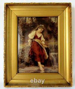 Victorian CRYSTOLEUM c. 1880 c. 1910. REVERSE OIL PAINTING on CONCAVE GLASS