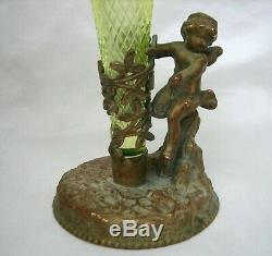 Victorian Cherub Angel Bronze and Vaseline Opalescent Art Glass Vase Epergne