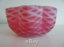 Victorian Cranberry Opalescent SATIN Art Glass Air Trap LATTICE FINGER BOWL