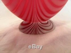 Victorian Cranberry Vase Pulled Feather Pattern by Thomas Webb Satin Finish