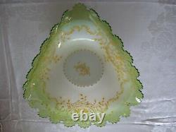 Victorian Enameled Cased Peach Green Triangular Brides Basket Bowl