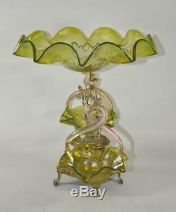 Victorian Epergne Art Glass bowls Figural Stag Austria