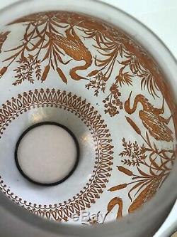 Victorian French Baccarat Acid Etched Crane Birds Satin Glass Oil Lamp Shade