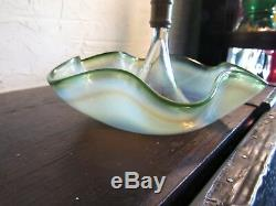 Victorian Green Art Glass RIGAREEE Epergne Opalescent Vase 15.5