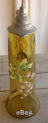 Victorian Green Glass Tankard Germany Wedding Set RARE Bleeding Heart Flower