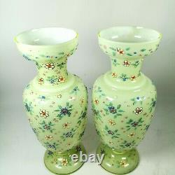 Victorian Hand Enameled Cased Glass Gold Trim Floral Green Yellow Pair Vases