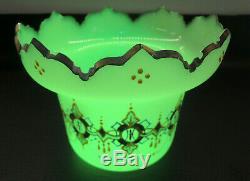 Victorian Harrach Art Nouveau Opaline Vaseline Glass vase, Gild-Enamel
