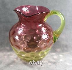 Victorian Hobbs Brockunier Cranberry Vaseline Rubina Verde Thumbprint Pitcher