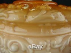 Victorian Large Moulded Peach / Orange Glass Oil Lamp Font, Art Nouveau Design