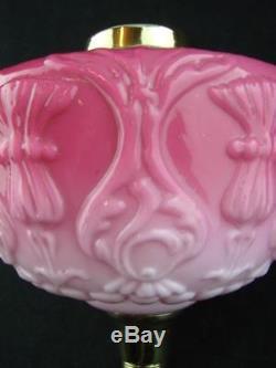 Victorian Large Moulded Pink Glass Oil Lamp Font, Art Nouveau Thistle Design